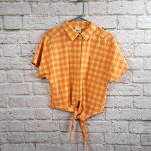 Koret Orange and Yellow Tie Front Blouse